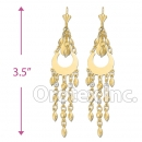 EL178 Gold Layered Pearl Long Earrings