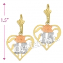 EL347 Gold Layered Tri-Color Long Earrings