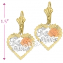 EL348 Gold Layered Tri-Color Long Earrings