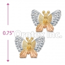 ES019 Gold Layered Tri-Color Stud Earrings