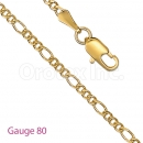 GFC1-10 Gold Layered Figaro 3+1 Chain Gauge 080