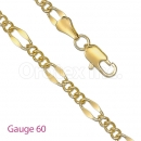 GFC1-11 Gold Layered Figaro 3+1 Chain Gauge 060