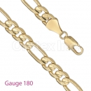 GFC1-14 Gold Layered Figaro 3+1 Yellow Pave Gauge 180