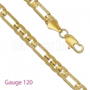 GFC1-16 Gold Layered Figaro 3+1 Yellow Pave Gauge 120