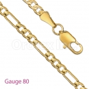 GFC1-18 Gold Layered Figaro 3+1 Yellow Pave Gauge 080