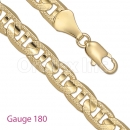 GFC1-19 Gold Layered Mariner Concave Yellow Pave Chain Gauge 180