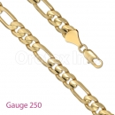 GFC1-3 Gold Layered Figaro 3+1 Chain Gauge 250