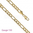 GFC1-4 Gold Layered Figaro 3+1 Chain Gauge 150