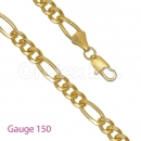 GFC1-6 Gold Layered Figaro 3+1 Chain Gauge 150