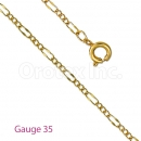 GFC2-16 Gold Layered Stamped Figaro 3+1 Chain Gauge 035