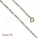 GFC3-7 Gold Layered Figaro Chain Gauge 040