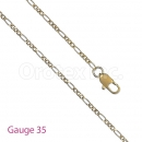 GFC3-8 Gold Layered Figaro Chain Gauge 035