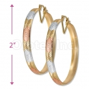 6mm Indian Gold Plated Tri-color Bangle Earrings