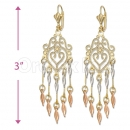 Orotex Gold Layered Tri-color Chandelier Earrings