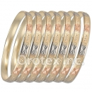 6mm Diamond Cut Tri-color Semanario Bangle