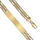 GFQB31-8 Gold Layered 3+1 Figaro Bracelet