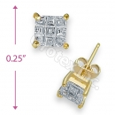 Orotex Gold Layered Invisible Cut Square Stud CZ Earring