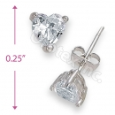 Orotex Silver Layered Heart Shaped Stud CZ Earring