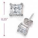 Orotex Silver Layered Square Stud CZ Earring