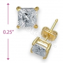 Orotex Gold Layered Square Stud CZ Earring