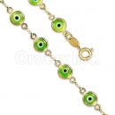 Orotex Gold Layered Green Eye Bracelet