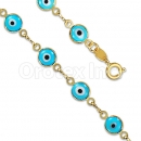 Orotex Gold Layered Aquamarine Eye Bracelet