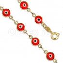 Orotex Gold Layered Red Eye Bracelet