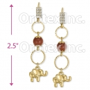 GLEL 003 Gold Layered CZ Long Earrings