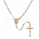 Oro Tex Gold Layered Diamond Cut Tri-color Rosary