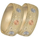 GLG1-24-D 25mm Indian Gold Plated Tri-color Diamond Cut Bangle