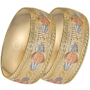 GLG1-24-F 25mm Indian Gold Plated Tri-color Diamond Cut Bangle