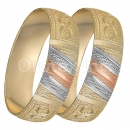 GLG1-25-A 20mm Indian Gold Plated Tri-color Diamond Cut Bangle