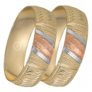 GLG1-25-B 20mm Indian Gold Plated Tri-color Diamond Cut Bangle