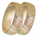 GLG1-25-C 20mm Indian Gold Plated Tri-color Diamond Cut Bangle