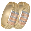 GLG1-25-D 20mm Indian Gold Plated Tri-color Diamond Cut Bangle