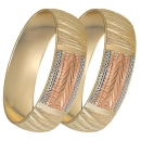 GLG1-25-E 20mm Indian Gold Plated Tri-color Diamond Cut Bangle