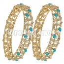 Set of Two Turquoise & White CZ Indian Gold Plated Bangle