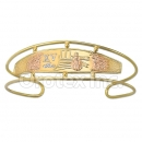 Orotex Gold Layered Tri-color Quinceanera Cuff Bangle