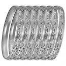 GLG1-52CS  6mm Silver Plated Laser Cut  Semanario Bangle