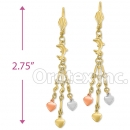 IEP1514 Gold Layered Tri-Color Chandelier Earrings