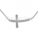 N 002 Silver Layered CZ Necklace