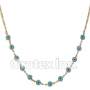 N012 Gold Layered Blue Eye Necklace