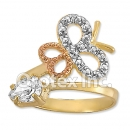 R001 Gold Layered CZ Tri Color Women's Ring