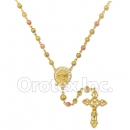 RN 060 Gold Layered Tri-Color Rosary