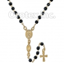 RSR004 Gold Layered Black Rosary